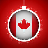 Merry Christmas Red Ball with Flag Canada — Stock Vector
