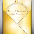 Merry Christmas Card Ball Gold Envelope — Stock Vector
