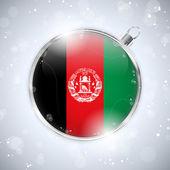 Merry Christmas Silver Ball with Flag Afghanistan — Stock Vector