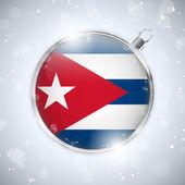 Frohe weihnachten silberne kugel mit flagge kuba — Stockvektor
