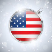 Merry Christmas Silver Ball with Flag USA — Stock Vector