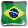 Brazil Flag Smartphone Application Square Buttons — Stock Vector
