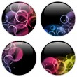 Glass Circle Button Colorful Dots — Stock Vector