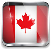 Canada Flag Smartphone Application Square Buttons — Stock Vector
