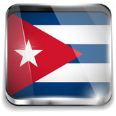 Cuba Flag Smartphone Application Square Buttons — Stock Vector