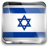 Israel Flag Smartphone Application Square Buttons — Stock Vector