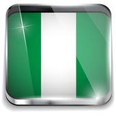 Nigeria Flag Smartphone Application Square Buttons — Stock Vector