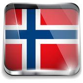 Norwegia flaga smartphone aplikacja kwadratowe przyciski — Wektor stockowy