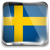 Sweden Flag Smartphone Application Square Buttons — Stock Vector