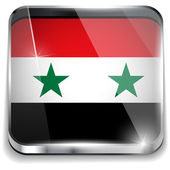 Syria Flag Smartphone Application Square Buttons — Stock Vector