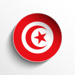 Tunisia Flag Paper Circle Shadow Button — Stock Vector