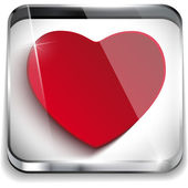 Valentine Day Glossy Application Button Heart — Stock Vector