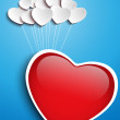 Valentines Day Heart Floating with Heart Balloons — Stock Vector