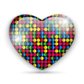 Glass Heart Dots Color Texture — Stock Vector