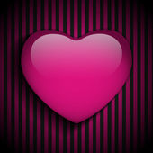 Glossy Emo Heart. Pink and Black Stripes — Stock Vector
