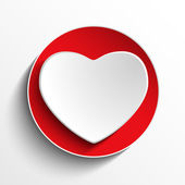Valentine Day Heart on White Button — Stock Vector