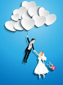 Just married couple flying with a heart shaped balloon — Stock Vector