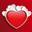 Valentines Day Heart on Red Background - 图库矢量图片