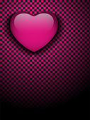 Valentines Day Glossy Emo Heart. Pink and Black Checkers — Stock Vector