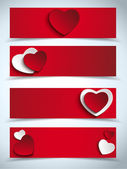 Valentines Day Set of Four Web Banners — Stock Vector
