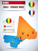 Mali - France War Map Infographic with Glossy Buttons — Stock Vector