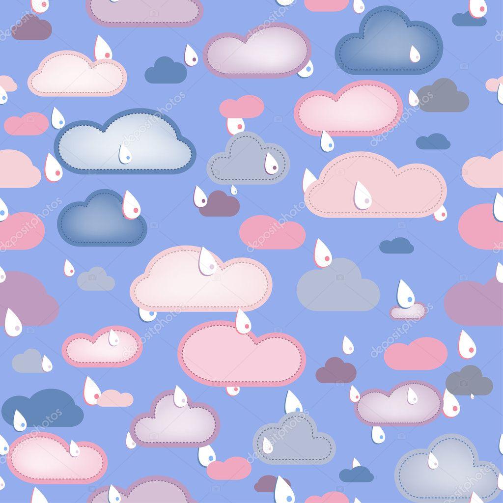 雨和云无缝.可编辑矢量图 — 矢量图片作者 gubh83
