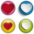 Valentine Day Heart on Colorful Glossy Buttons — Stock Vector