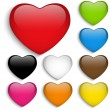 Set Glass Colorful Glossy Heart - Stock Vector