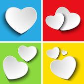 Día de san valentín conjunto de cuatro cuadrados colores — Vector de stock