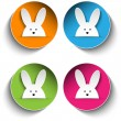 Set of Four Happy Easter Bunny Stickers - Stock Vector