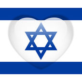 Israel Flag Heart Glossy Button — Stock Vector
