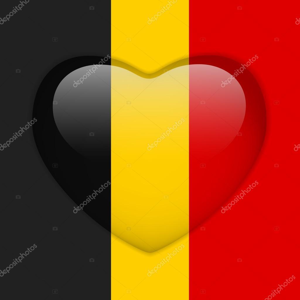 Bouton brillant coeur drapeau de belgique image - Bouton de liege ...