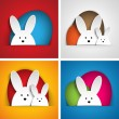Happy Easter Rabbit Bunny on Orange Background - Stock Vector