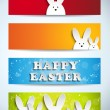 Happy Easter Rabbit Bunny Set of Banners - Stock Vector