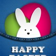 Happy Easter Rabbit Bunny in Jeans Pocket - Stock Vector