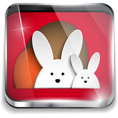 Happy Easter Glossy Application Button — Stock Vector