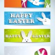 Happy Easter Rabbit Bunny Set of Banners — Stock Vector