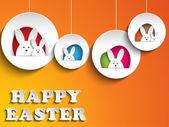 Mutlu Paskalya tavşanı tavşan turuncu zemin üzerine — Stok Vektör