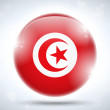Tunisia Flag Glossy Button — Stock Vector