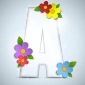 Alphabet Glass Spring with Flowers — Stock Vector