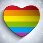 Gay Flag Heart Striped Sticker — Stock Vector