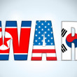 North Korea, USA and South Korea War — Vector de stock