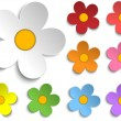 Beautiful Spring Flowers Collection Set of 9 — Stock Vector