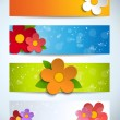 Beautiful Spring Flowers Set of Banners — Stock Vector
