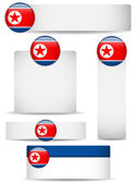 North Korea Country Set of Banners — Stock Vector
