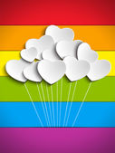 Gay Flag Hearts Balloons Background — Stock Vector