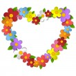 Flower Heart Bouquet Spring Background — Imagen vectorial