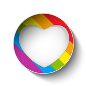 Gay Flag Heart Striped Sticker — Stock Vector