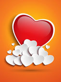 Mother Day Heart Clouds on Orange Background — Stock Vector