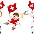Stock Vector: Switzerland Sport Fan with Flag and Horn